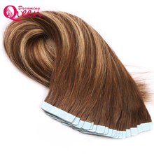 Dreaming Queen Hair Tape In Remy Hair Extensions Brazilian Straight Human Hair #4/27/4 Color 50g 20pcs/Set Skin Weft Hair