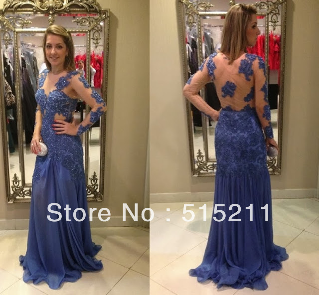 Elegant Lace Long Sleeves See Through Back Navy Blue Chiffon Mermaid ...