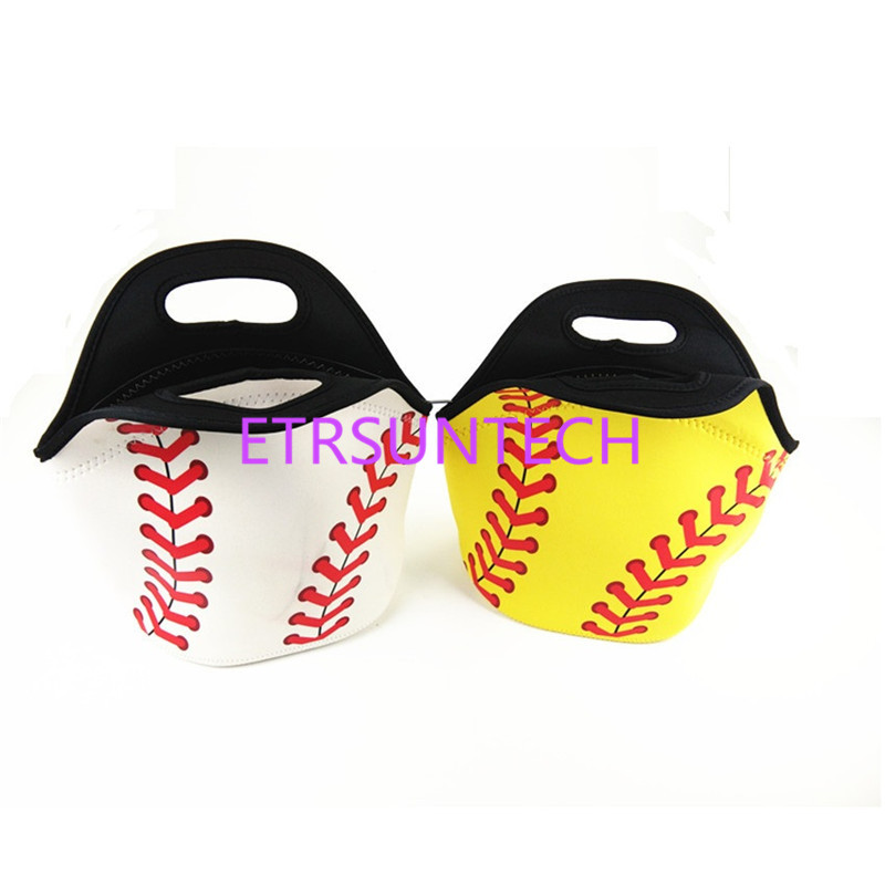 100pcs/lot Neoprene White Base-ball Food Bag Yellow Softball Lunch Tote Bag Cooler Bag Team Accessories Food Carrier