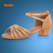 KULLA Children Latin Dance Shoes Ballroom Salsa Tango Low Heels Dancing For Kids Girls Shoe Zapatos De Baile Latino Mujer L36