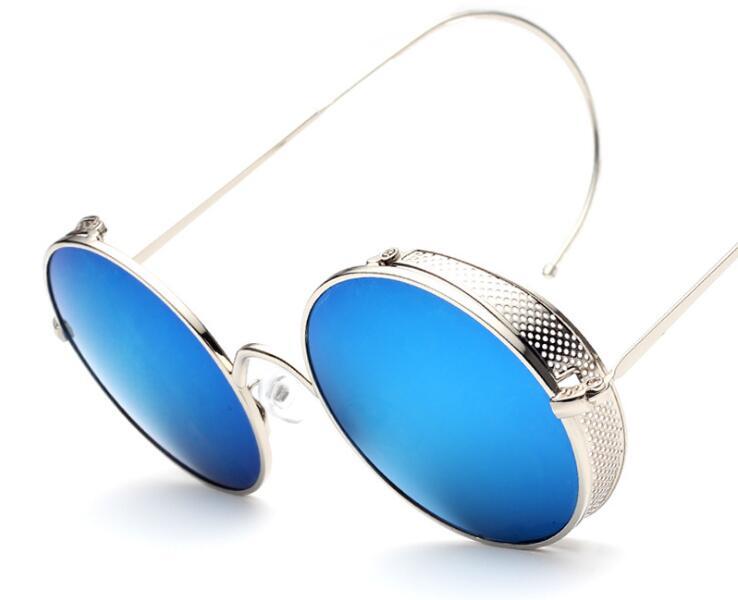 Fashion Steampunk Sunglasses Women Brand Designer Mesh Side Cover Curved Leg Round Vintage Sun Glasses Metal Frame KgZLiyTUw