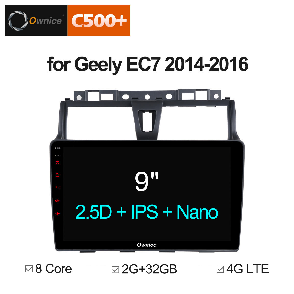Ownice C500 + G10 android 8.1 Voiture radio audio dvd pour GEELY Emgrand EC7 2014-2016 GPS Navigation 8 core DAB + 4g LTE DVR