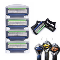 4pcs Pack Safety Razor Blade 5 Layer Manual Shaving Cassette Shaver Blade For Mens Face Beard