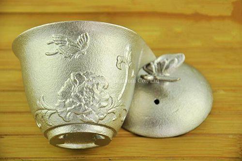 Titanio puro TA1 Casting Tazze da Tè Gruppo con Disegni Intagliati Elettrolitica Finitura Superficiale 4 pz/set 512g - 5