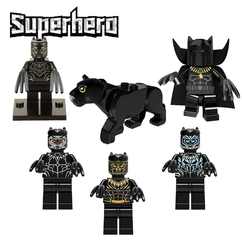 Super Heroes Marvel Avenger Legoelys Black Panther With Claws Mini Doll Erik Killmonger Infinity War Building Block Toy Figure