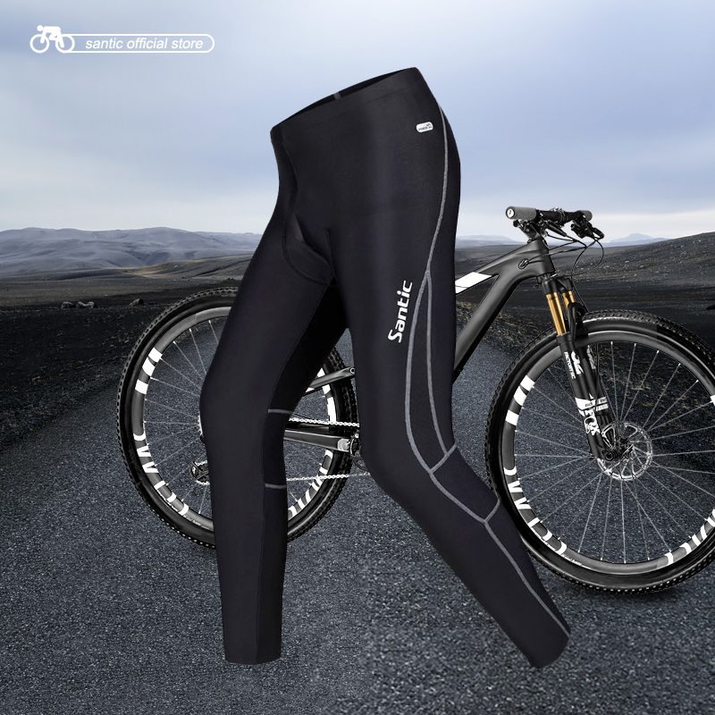 Santic Men Cycling Padded Long Pants 4D Pad Autumn Early Winter Breathable Bike Riding Cycling Pants Full Length Black MC04015