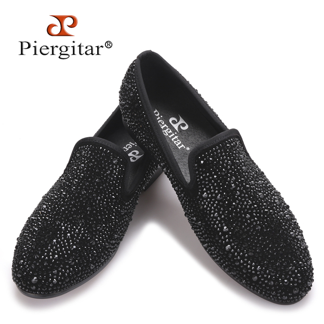 2017 New Suede Genuine Leather Men's Flats Men Black Crystal shoes men smoking slippers Prom and party male loafers Size 4-17