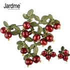 Jardme Earrings Brooch Jewelry SetsNatural Pearls Vintage Green That Bake Paint Cranberry Women Wedding Jewelry