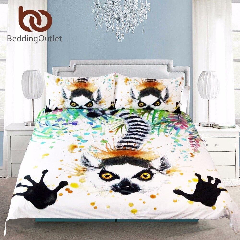 Funny bed sheets - Beddingoutlet 3 Pcs Funny Wildlife Racoon Duvet Cover Set Landscape Painting Nature Animal Bedding Set Soft