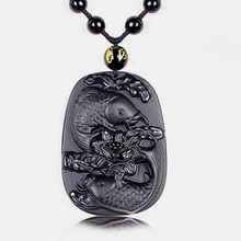 Drop Shipping Natural Black Obsidian Stone Pendant Lucky Amulet Fish Lotus Necklace For Men Women With Chain Gift