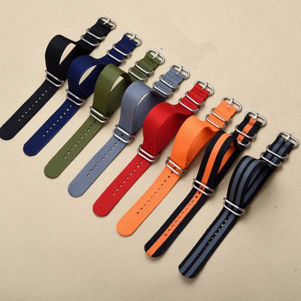 1pcs Nylon Resistant Straps18mm 20mm 22mm 24mm Nylon Band Watch NATO Strap Zulu Watchband Buckle Ring new high quality watchband 24mm nato multicolor 4 ring nylon military diver s watch strap