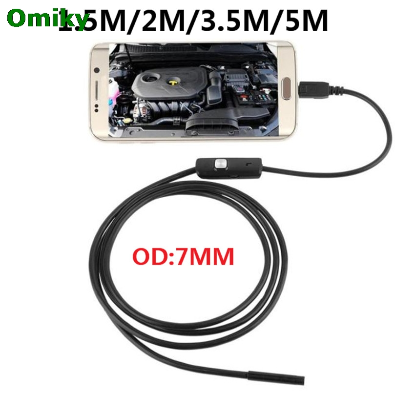 6 1PCLED Waterproof 1.5M 2M 3.5M 5M 7mm Lens Endoscope Inspection Camera For Android Phone Borescope Snake Inspection Camera