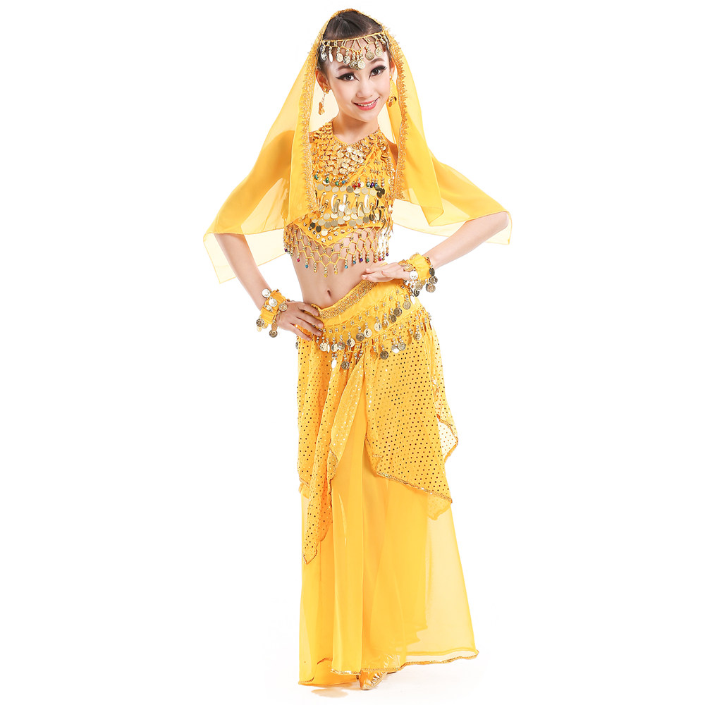 Belly Dance Costumes for Kids Girls Children Belly Dance Skirt Bollywood Dancing Dress Performance Competition Indian Cloth Set