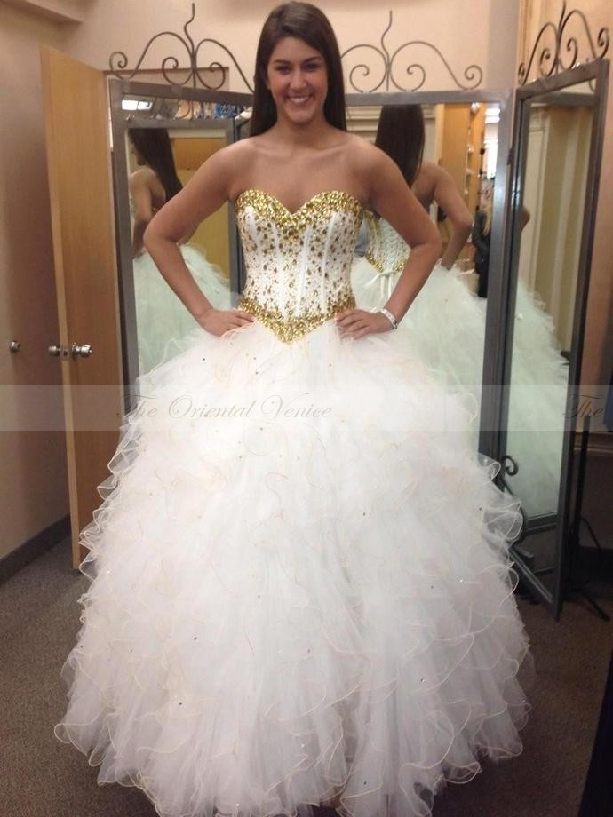 Sparkly Gold Beaded Crystal White Quinceanera Dress 15 years Girls Vestidos de 15 anos 2017 Ruched Ball Gown Sweet 16 Dresses