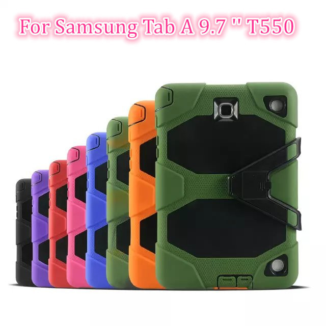 Heavy Duty case For Capa Samsung Galaxy Tab A 9.7 '' SM-T550 T550 T551 T555 T555C Tablet Case Soft Silicone +PC Back Cover
