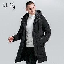 HMILY Men Winter Jacket Warm Thick Windproof Pockets Windbreaker Mens Long Hooded Zipper Male Parka Brand Coats