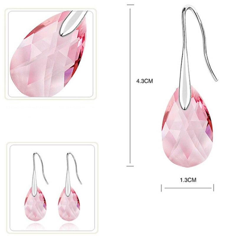 Большой розовый кристалл от кристаллы сваровски 18 К белый позолоченные австрийский хрусталь грушевидной формы капли воды для женщин