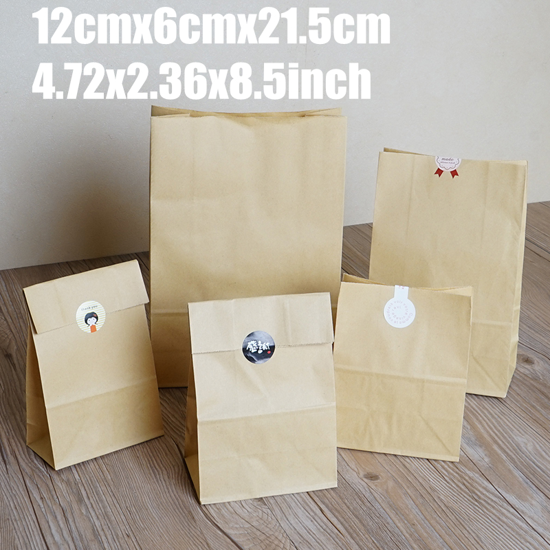 12cm*6cm*21.5cm 50Pc Cake Bread Kraft Paper Bag Packaging For Cookies Jute Bolsas De Papel Shopping Verpakking Zakjes Decoration