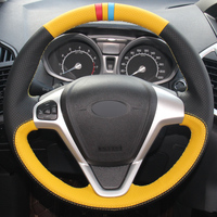 Yellow Black Leather DIY Car Steering Wheel Cover for Ford Fiesta 2008 2013 Ecosport 2013 2016