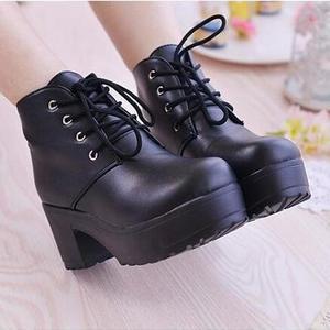 Image 5 - Женские ботинки с круглым носком YEELOCA, весенние ботинки на высоком квадратном каблуке, со шнуровкой, размера плюс, 35 45, новинка 2019