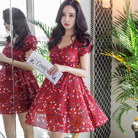 Dabuwawa Summer Elegant Dress V neck Short Sleeve Dress Print Flowers Red Dress D18BDR182