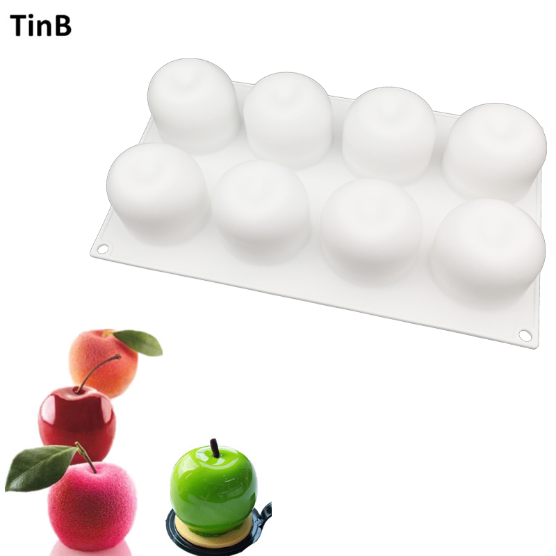 New DIY Baking 8 Hole Non Stick French Dessert Apple Shape Mousse Silicone White Pastry Cake