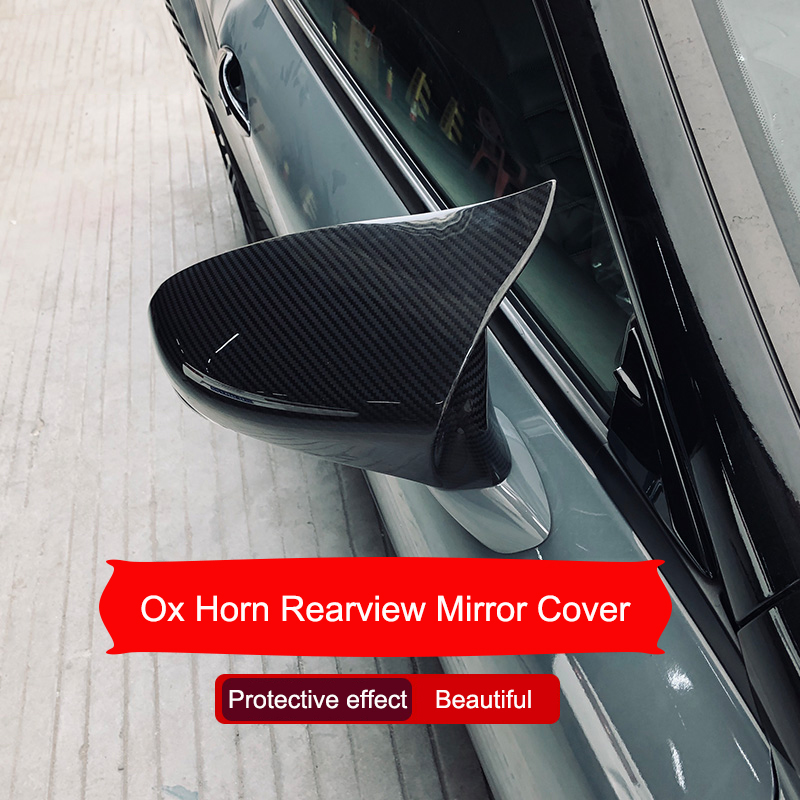 For 2018-2020 Toyota Camry Carbon Fiber Ox Horn Side Rearview Mirror Cover Trim