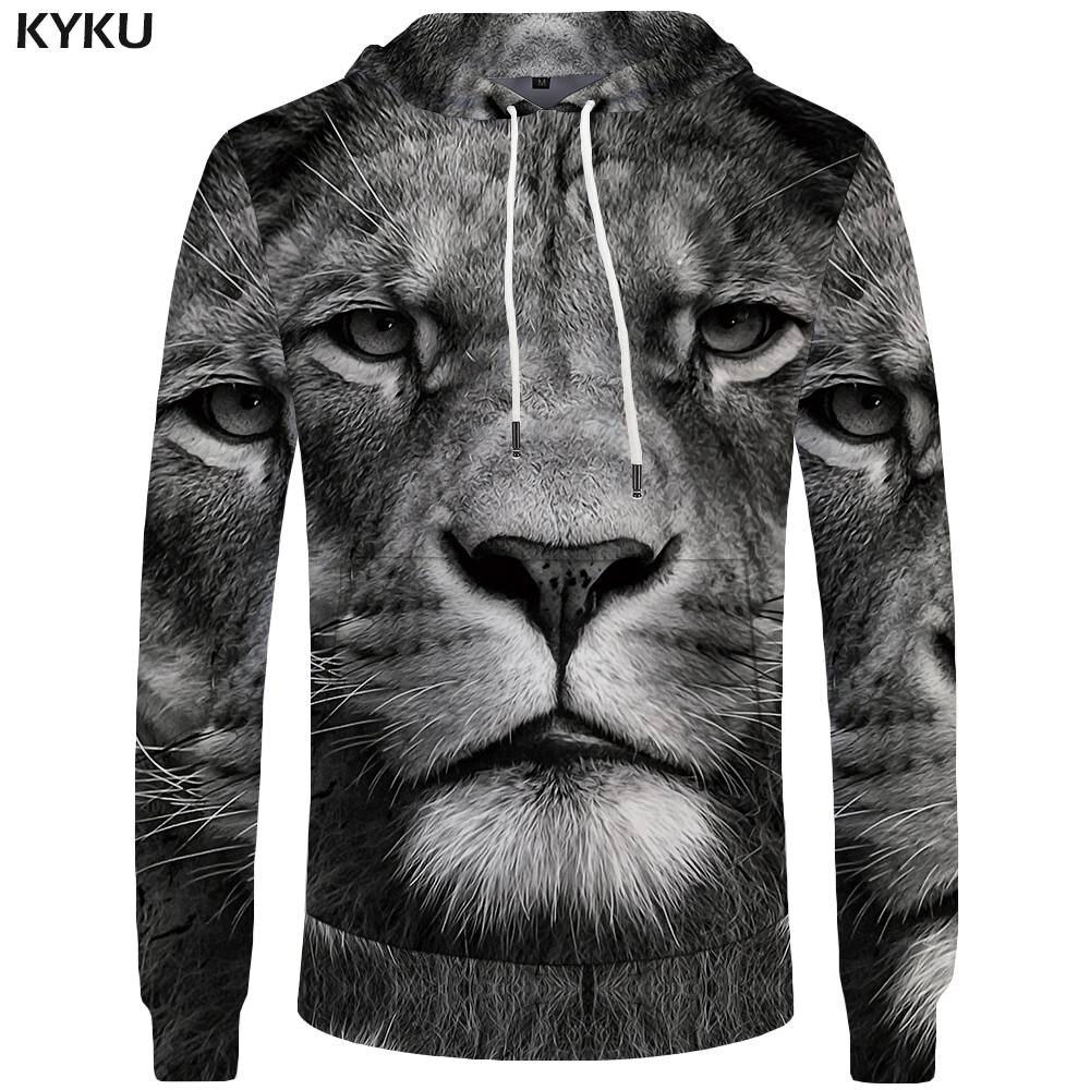 KYKU Brand Lion Hoodies Men Head Big Size Animal Sweatshirts Hoddie Mens Clothing Pocket 3d Hoodies Hood Sweat shirt Print