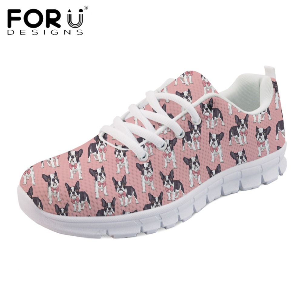 FORUDESIGNS Fashion Women Mesh Flats Cute Classy Boston Terrier Casual Comfortable Sneakers Ladies Spring Breathable Tenis Shoes forudesigns spring summer casual women sneakers cute happy chef pattern flats shoes woman fashion cartoon mesh shoes women flat