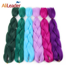 AliLeader 47 Colors Crochet Synthetic Jumbo Braiding Hair Extensions Ombre Brown White Pink Purple Green Silver Grey 24 Inch(China)