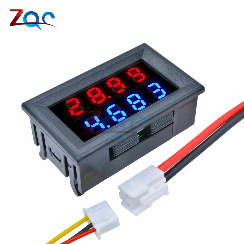 Mini Digital DC Voltmeter Ammeter 4 Bit 5 Wires DC 200V 10A Voltage Current Meter Power Supply Tester Red Blue LED Dual Display