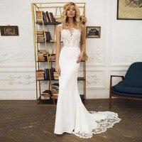 Sexy Wedding Dress O Neck Appliques Mermaid Wedding Gown with Small Train White Ivory Beach Bride Dress Custom Plus Size
