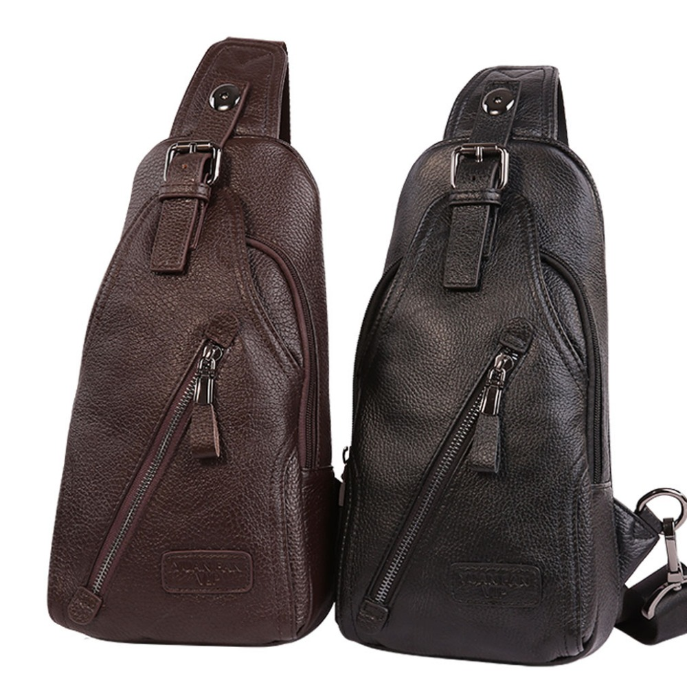 Men High Quality Genuine Leather Cowhide fashion Chest Pack Sling Back Pack Riding Cross Body Messenger Single Shoulder Bag men s genuine leather belt buckle back pack shoulder messenger unbalance sling chest bag