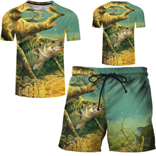 2019 new summer fun beach fish 3d print men swimwear t-shirt board shorts suit quick-drying 6XL free shipping