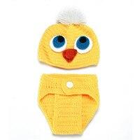 Estilo Pato Amarillo lindo Bebé Niña Accesorios de Vestir Pantalones de Algodón Bebé de Punto de Ganchillo Apoyos de La Fotografía Sombrero Zapatos