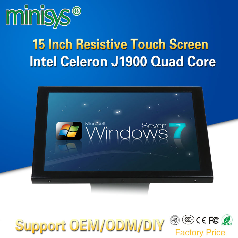MINISYS Factory Price All-In-One Computer Intel J1900 Quad Core Single Lan 15 Inch 5 Wire Resistive Touch Screen PC With 4*USB