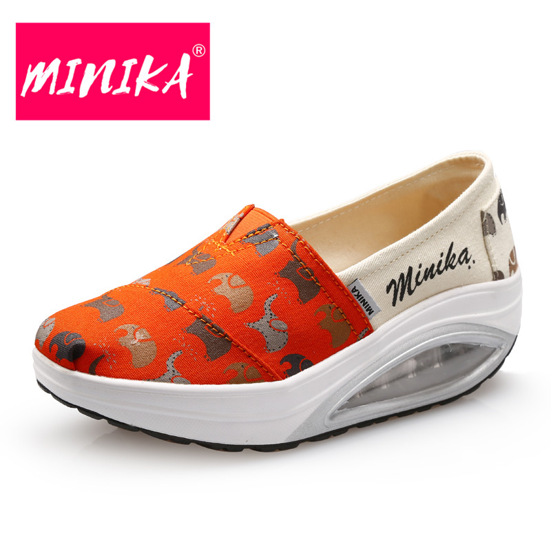 MINIKA High Quality Flats Shoes Women New Design Mixed Colors Slip-On Casual Shoes Women Fashion Air Cushion Platform Shoes minika new arrival 2017 casual shoes women multicolor optional comfortable women flat shoes fashion patchwork platform shoes