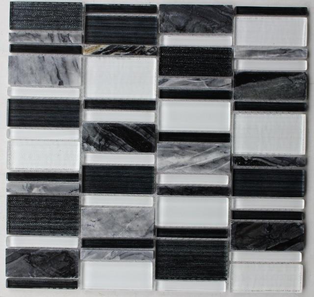 [Mius Art Mosaic] Super white  crystal mosaic tile  black glass tile marble stone for kitchen backsplash B2D213