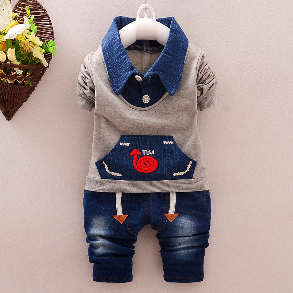 Long Sleeve Shirt Denim Jeans Pants Clothing Sets Kids Toddler Baby Boy  Pant Sets Pant Sets
