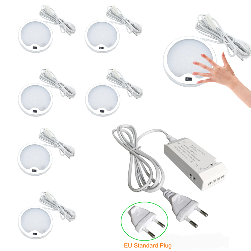 Aiboo LED IR Switch Under Cabinet Lighting Lamps Aluminum Display Case Light For Kitchen Counter Hand Wave Sensors Round Puck