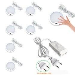 Aiboo led ir interruptor sob lâmpadas de iluminação do armário alumínio display caso luz para cozinha contador mão onda sensores redondo puck