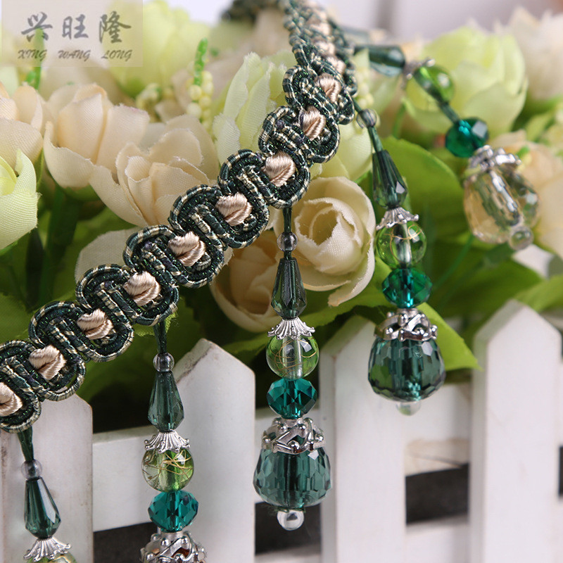 XWL Luxury 12M Lot Colorful Acrylic Beads Curtain Lace Accessories For Drapery DIY Sewing Tassel Fringes