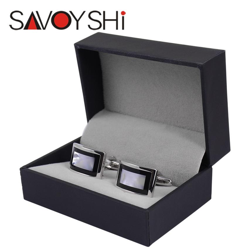 SAVOYSHI Luxury Shell Cufflinks for Mens Shirt Brand Cuff bottons High Quality Square Wedding Cufflinks Fashion Gift Men Jewelry