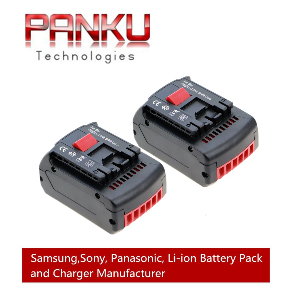 2 X PANKU 18V 3000mAh Crodless Power Tool Lithium-Ion Battery Replacement for Bosch BAT609 BAT618 panku 14 4v 3 0ah replacement battery for bosch bat038 bat040 bat041 bat140 bat159 bat041 2607335534 35614 13614 3660k 3660ck