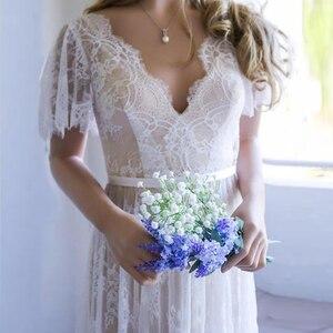 Image 2 - Robe de mariée informelle Champagne, avec dentelle, col en V, 2019 V, robe de mariée romantique