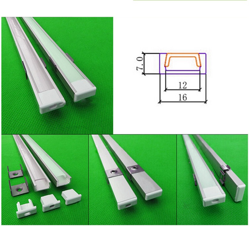 50pcs of 1m led aluminium profile 1607 with cover and spares