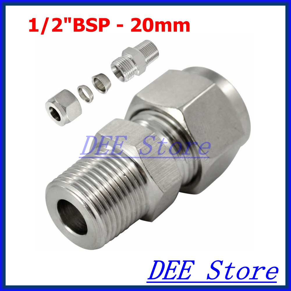 2PCS 1/2BSP x 20MM ID Double Ferrule Tube Pipe Fittings Threaded Male Connector Stainless Steel SS 304 New Good Quality brand new 1 5 male thread pipe fittings x 40 mm barb hose tail connector stainless steel ss304high quality
