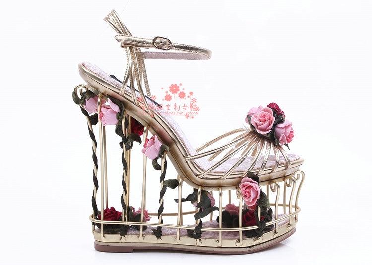 Новая женская обувь; сезон весна лето; модные роскошные свадебные туфли с Т образным ремешком и завязками в виде птичьей клетки; высококачес... - 4