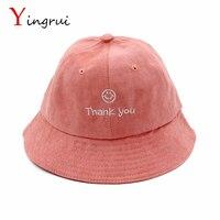 New Parent Child Hat Family Set Bucket Hat Lovely Smile Face THANK YOU Letter Cap Sun