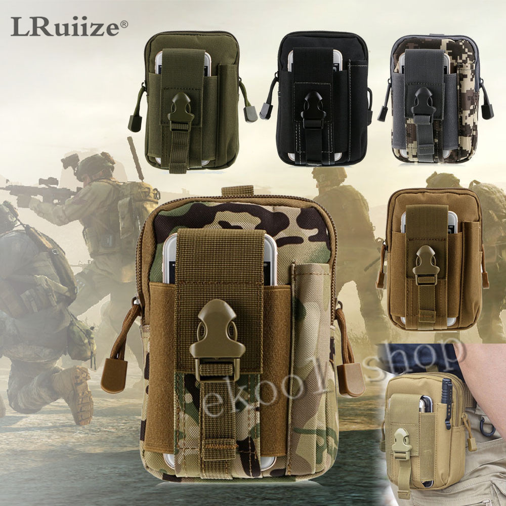 LRuiize Men's Bag about Universal Army Tactical Soft waist Phone Case Sport Casual Waist bag running bag Military Tactical Pouch